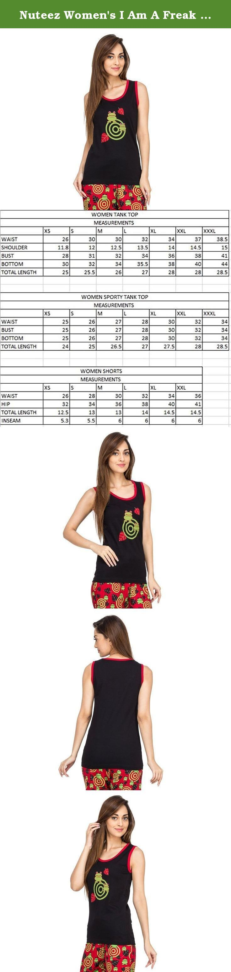 Nuteez Women's I Am A Freak Cotton Tank Top And Shorts Set Large Multi-Coloured. AOP TANK TOP & SHORTS SET IN 100% COTTON.