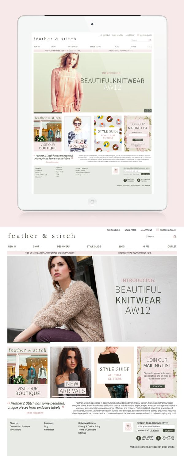 Feather & Stitch website design by Ge Song, via Behance