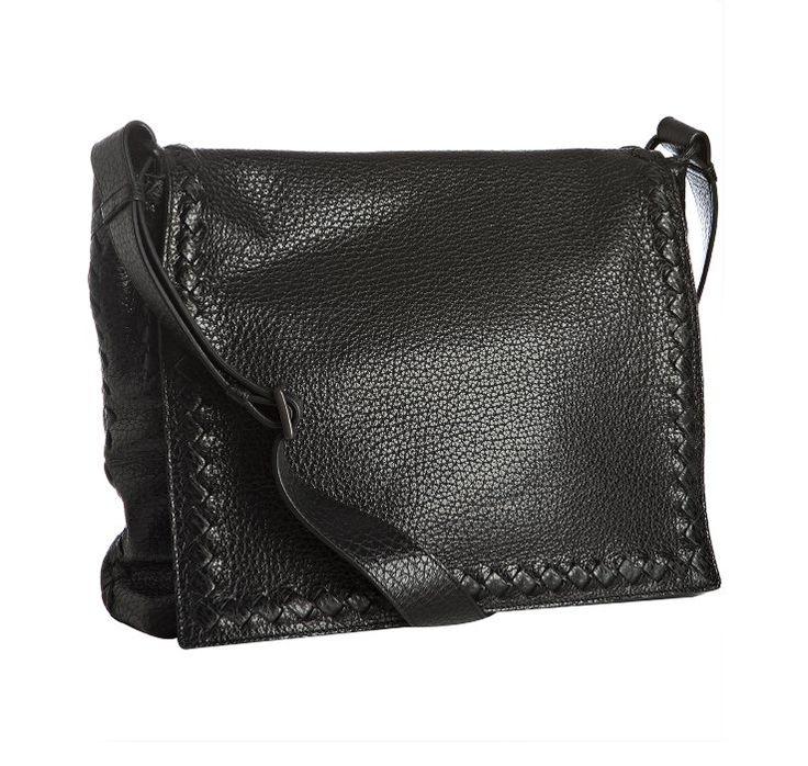 LEATHER Picture Bags   Bottega Veneta black leather flap messenger bag   Men's bags