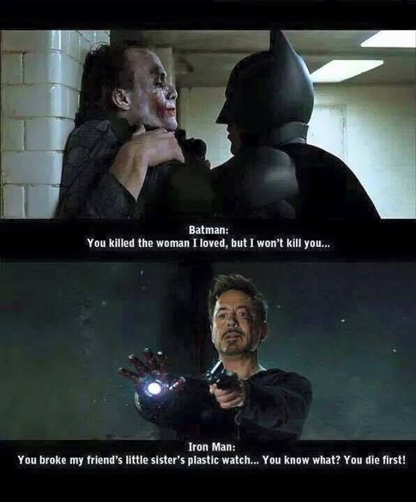 That's why Tony's better than Batman. Correction. In my opinion that makes batman better because even though the joker killed someone he loved, he is still willing to give him life. Arguements? Please do.