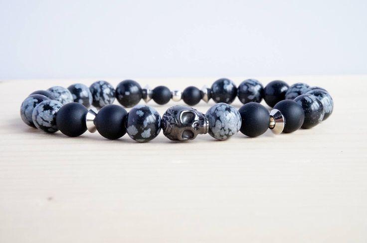 bracelet homme en pierre fine obsidienne de la boutique PELVA sur Etsy