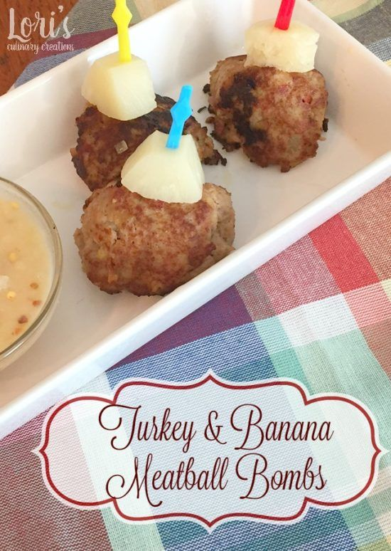 Turkey and Banana Meatball Bombs #CIC. Here's an amazing tapas style recipe that we just love for parties or potlucks.   Yes, you can have a sweet & savory meatball. Using mashed bananas, these have a tropical twist you'll surely enjoy. They're the bomb!