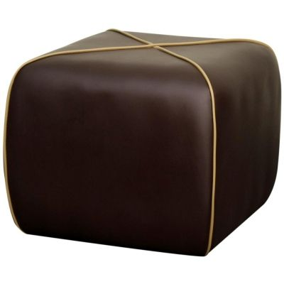 Rex Contemporary Decor Square Pu Artificial Leather upholstery Ottoman, Brown - Harrington Galleries