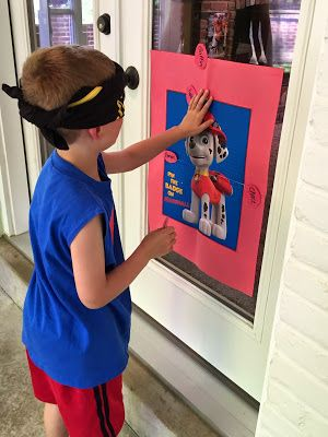 Paw Patrol Party: pin the badge on Marshall game