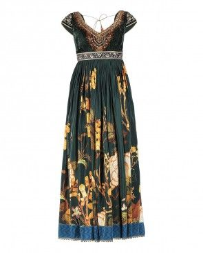 Military Green Kalidar Suit with Floral Prints and Embroidery