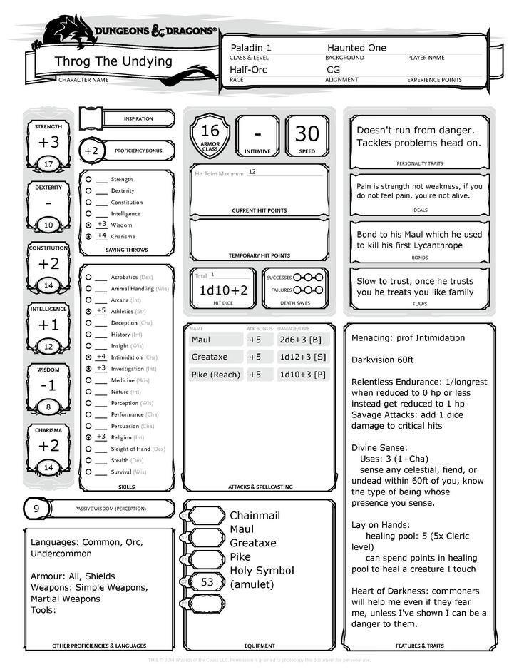 barbarian character sheet throg the undying half-orc paladin | dungeons, dragons