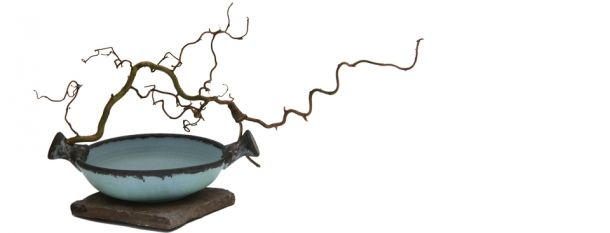 Up From Earth, Work by Magda Bethani, Stoneware Bowl with Twisted Branch