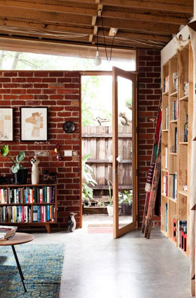 open: Bookcase, Decor, Interior, Exposed Brick Walls, Wood, Living Room, House, Space, Place