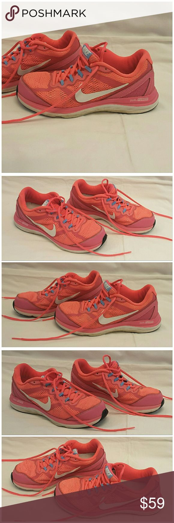 """40%BUNDLE DISCOUNT! FREE SHIPPING ON BUNDLES! NIKE DUAL FUSION, athletic shoes, size 6.5, Colorful! Shades of pinks. ADD TO A BUNDLE! 40%BUNDLE DISCOUNT! FREE SHIPPING ON BUNDLES! """"OFFER"""" $6 LESS ON BUNDLE! Price firm unless Bundled. Only accepting """"offers"""" of $6 Less on Bundles for shipping reimbursement. Nike Shoes Athletic Shoes"""