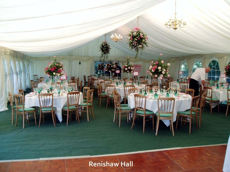 Renishaw Hall Wedding Marquee. Floral table & hanging creations i provided for Jane & David's wedding. www.uniqueweddingflowers.co.uk