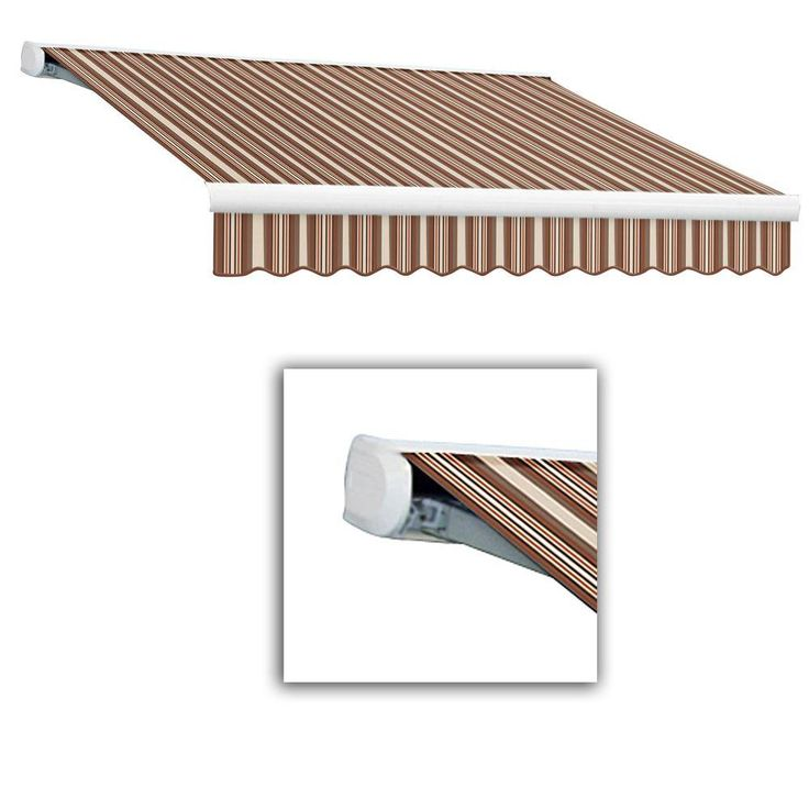 Awntech 8 Ft Key West Right Side Motorized Retractable Awning 84 In Projection In Brown Tan Stripe Kwr8 Brnt Retractable Awning Living Spaces Fabric Awning