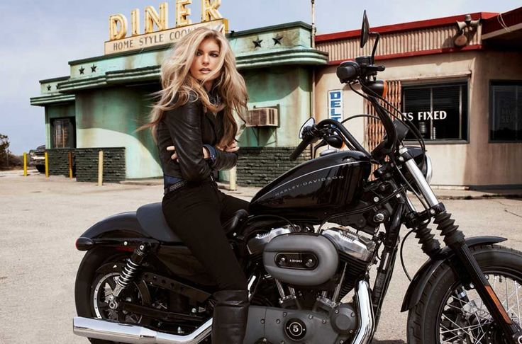 Motorcycle Girl Photo - Victoria's Secret Model Marisa Miller wearing a Black Leather Jacket on a Black Harley-Davidson Nightster Motorcycle