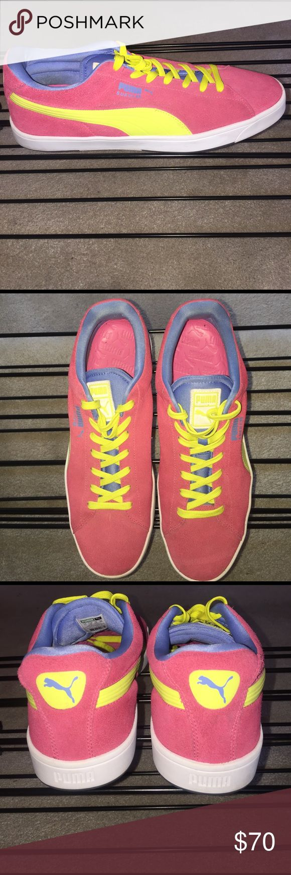 🔥Mens Puma Retros Gently Loved Puma Retros Suede Pink and Neon yellow with blue inner lining worn several times if that and in excellent condition.. Will ship today📦📬🎁💃🏽 Puma Shoes Sneakers