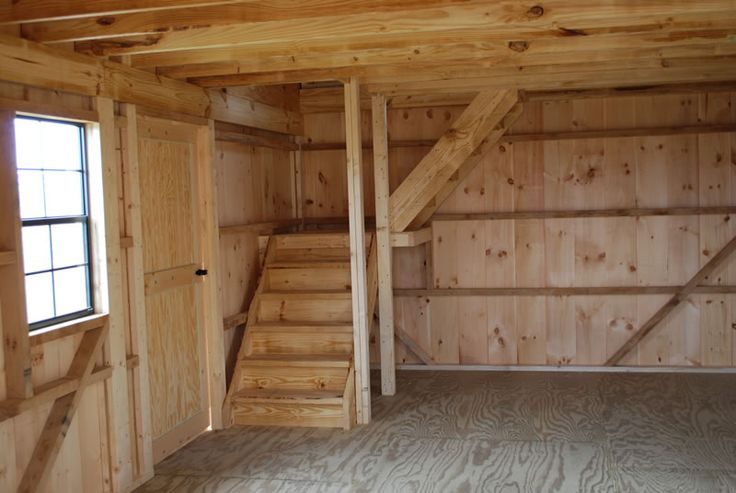 Amish Built Attic Car Garage With Loft Space: Steps In Raised Roof Storage Shed
