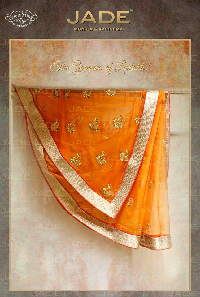JADE's Elegant Sari inspired from 'Gompas of Ladakh' #jadebyMK #jade_byMK #jade #saree #stunning #orange