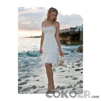 Korta-Brudklänningar-strapless-en-linje-te-längd-kjol-stranden-korta-bröllopsklänningar