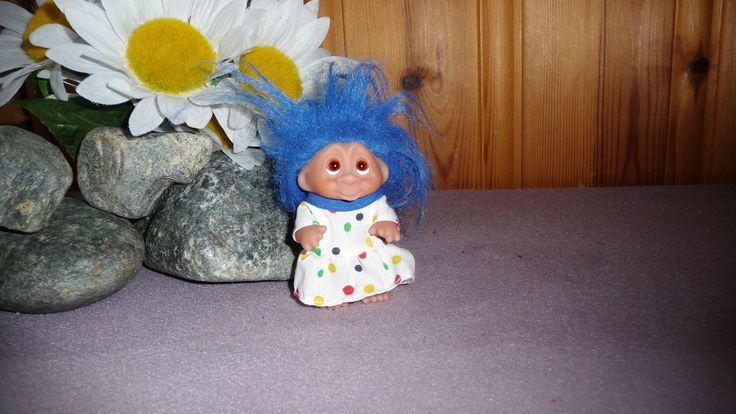 Vintage Dam Troll Doll, Troll Figurine 1985 Blue Hair Girl Troll Polka Dot Dress by Grandchildattic on Etsy