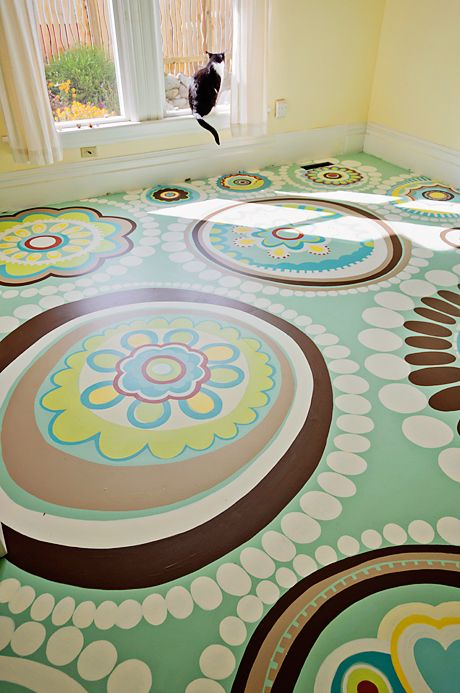 Adore this painted floor. Took hours and hours to complete, but well worth it for such a fantastic look. Painted sub floor