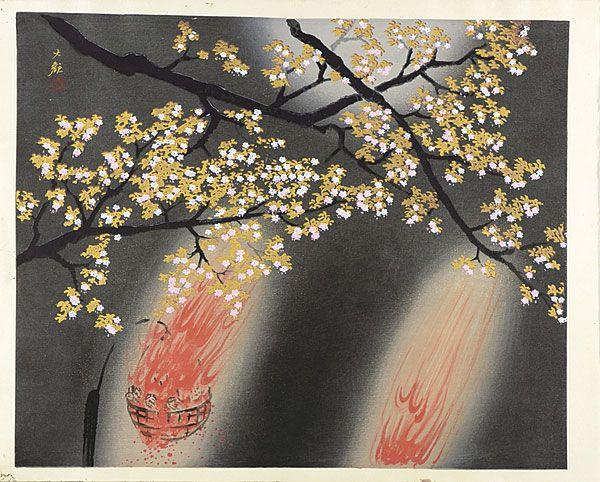 【横山大観「夜桜」】の商品詳細。・ 夜桜 「Cherry Blossoms at Night」 by 横山大観 『Yokoyama Taikan』・