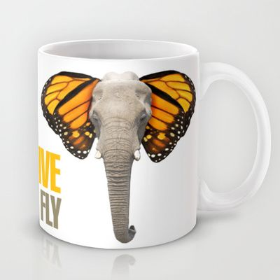 BUTTERFLY ELEPHANT Mug by VINSPIRO - $15.00