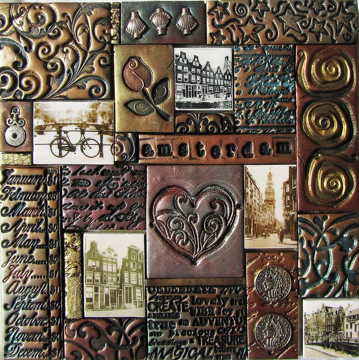 Kitty Van Den Heuvel Amsterdam I Polymer Clay Mosaic This Piece Is Created With Mica Paint Embellishments Etc The Tiles Are Handmade And