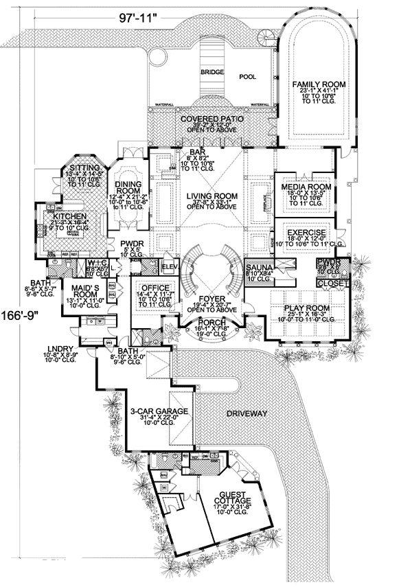 Spanish Corner Lot Luxury Mediterranean Florida House Plans Home