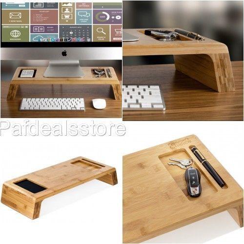monitor stand riser wood bamboo desk organizer imac tray computer holder slots - Desk Riser