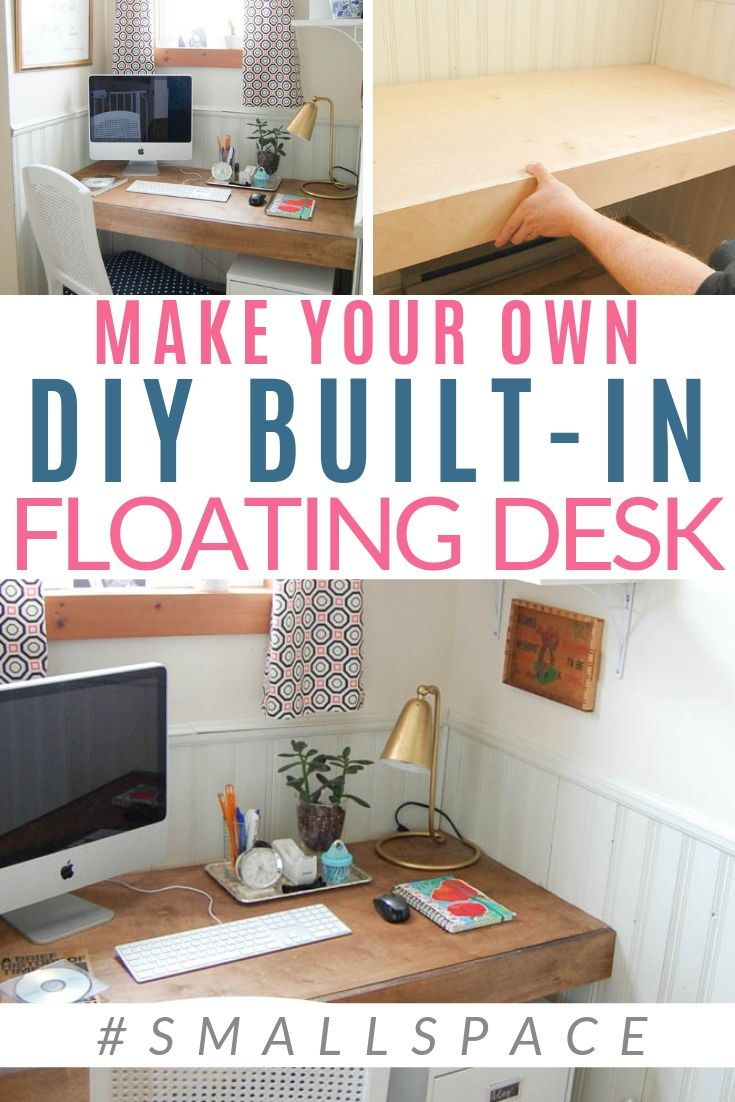 Build A Floating Desk Space Saving Solution Floating Desk Diy Space Saving Closet Desk