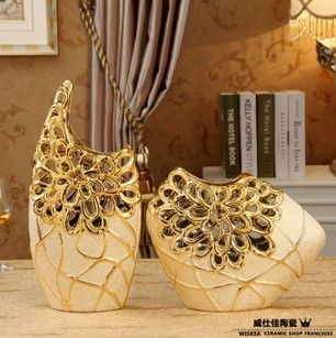 安いセラミック ゴールド メッキ花瓶2 ピース セット ファッションホームアクセサリー新しい家現代の装飾工芸品、購入品質花瓶、直接中国のサプライヤーから: 商品の詳細