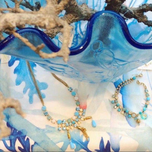Parure Collana oro e azzurra con orecchini Byba Bijou