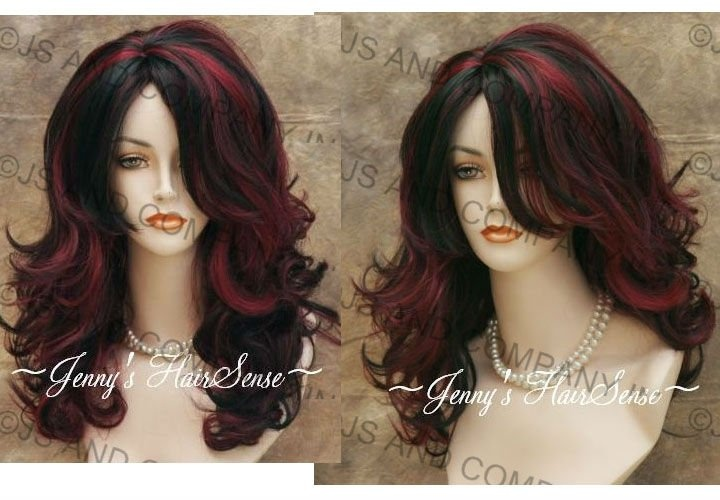 Black hair with chunky red highlights in long wavy hair. Love ...