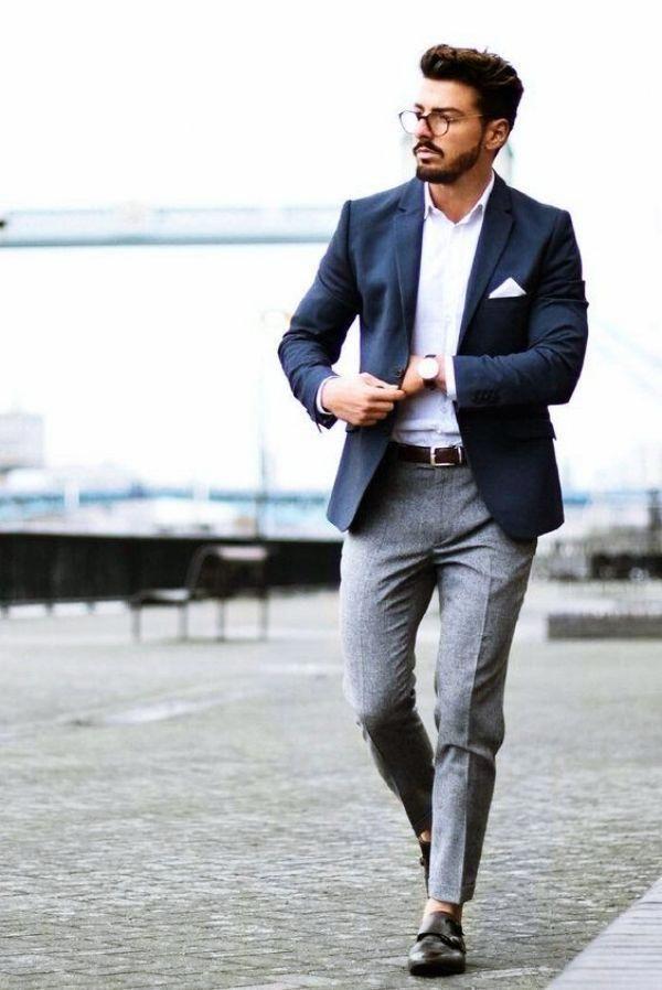 Navy Blue Jacket Grey Pants Leatherjacketsformengrey Leather