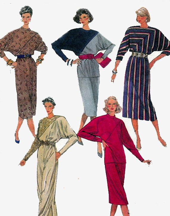 80s color block batwing dress top skirt vintage pattern