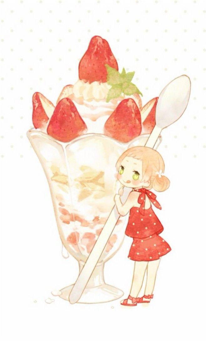 Anime chibi girl eating ice cream - Ice cream anime girl ...