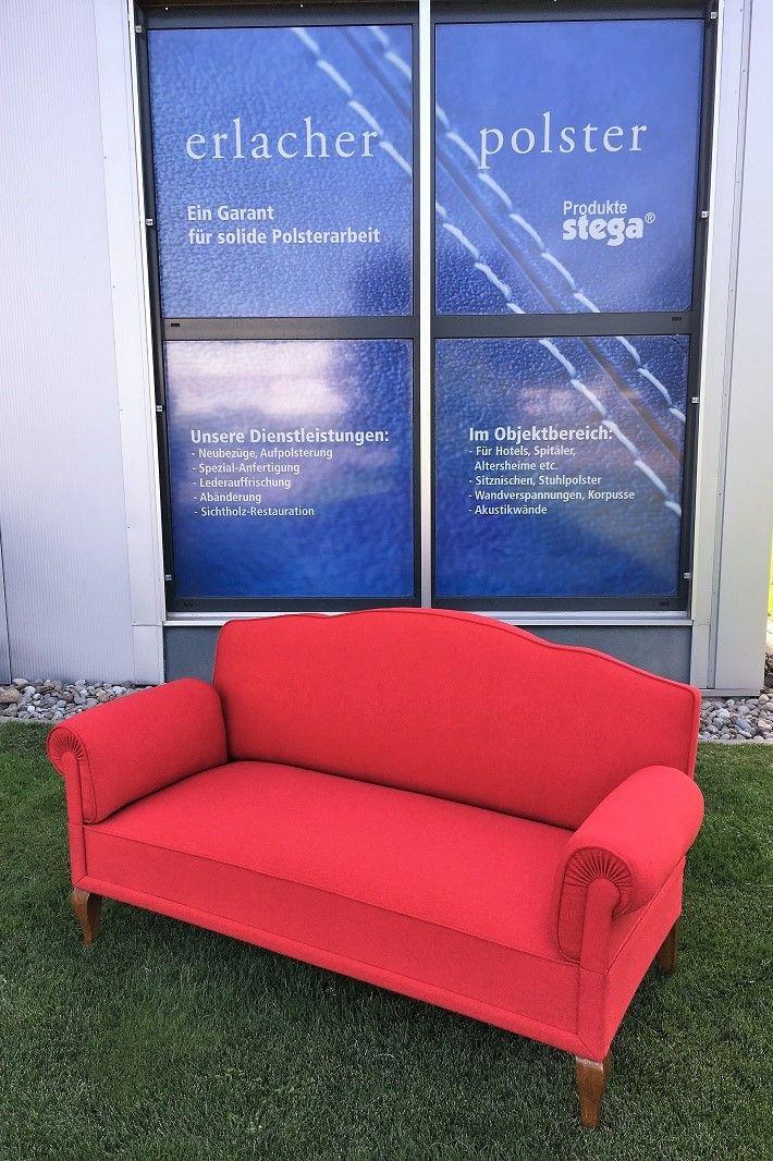 Altes Sofa Neu Bezogen In Stoff Rot Polsterei Sofa Neu Beziehen Stuhlpolster