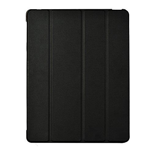 Afranker Ipad 2 / 3 / 4 Slim-Fit Folio Smart Four Fold Case Cover with Back Case With Afranker Cleaning Cloth Black