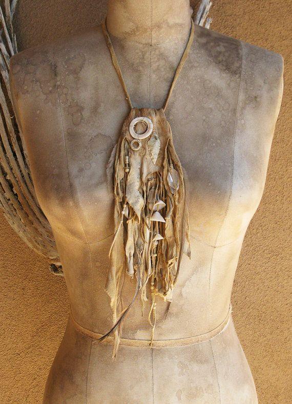 Distressed Pale Buff Deerskin Medicine Bag with by deserttalismans