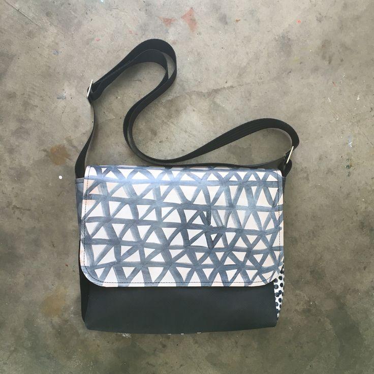Hand printed leather satchel  Designed and made by Julia Flanagan for Frejj, 2016  www.frejj.com