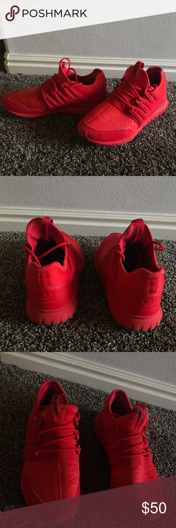 Adidas tubular red These shoes have literally been worn once and they look brand new adidas Shoes Sneakers