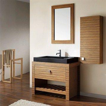 """Avanity Knox 39"""" Single Bathroom For For half bath:  Vanity Set with Black Granite Sink - Zebra Wood @ www.modernbathroom.com"""