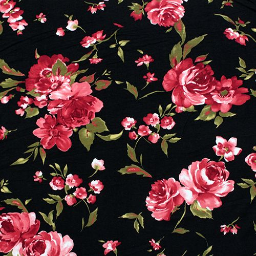 Deep Red Olive Floral on Black Cotton Spandex Knit Fabric ...