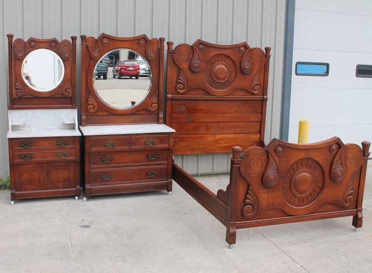 Rare 1880 90s 3pc Cowboy Sunburst Oak Marble Top Bevel