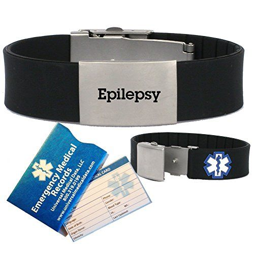 Close Out Special  Save 30%  Pre-engraved  Epilepsy  Medical Alert Identification Bracelet in Black Silicone. diabetes <3 This is an Amazon Associate's Pin. Clicking on the image will lead you to the website.