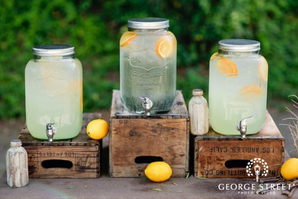 Keep your guests cool on those hot summer days! A beverage station is easy to DIY and super refreshing!