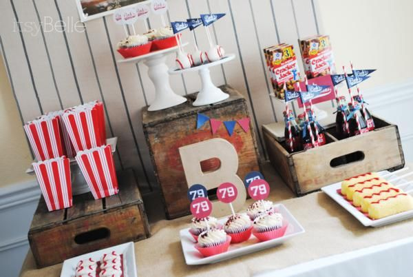 Vintage Baseball 79th Birthday Party. Red white and blue. popcorn boxes, hotdogs and peanuts. Great adult or boy birthday party.