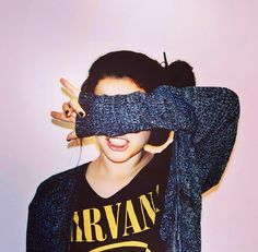 I really like the nirvana t-shirt with the sweater it kind of cools down the edgy side to the t-shirt know what i mean?