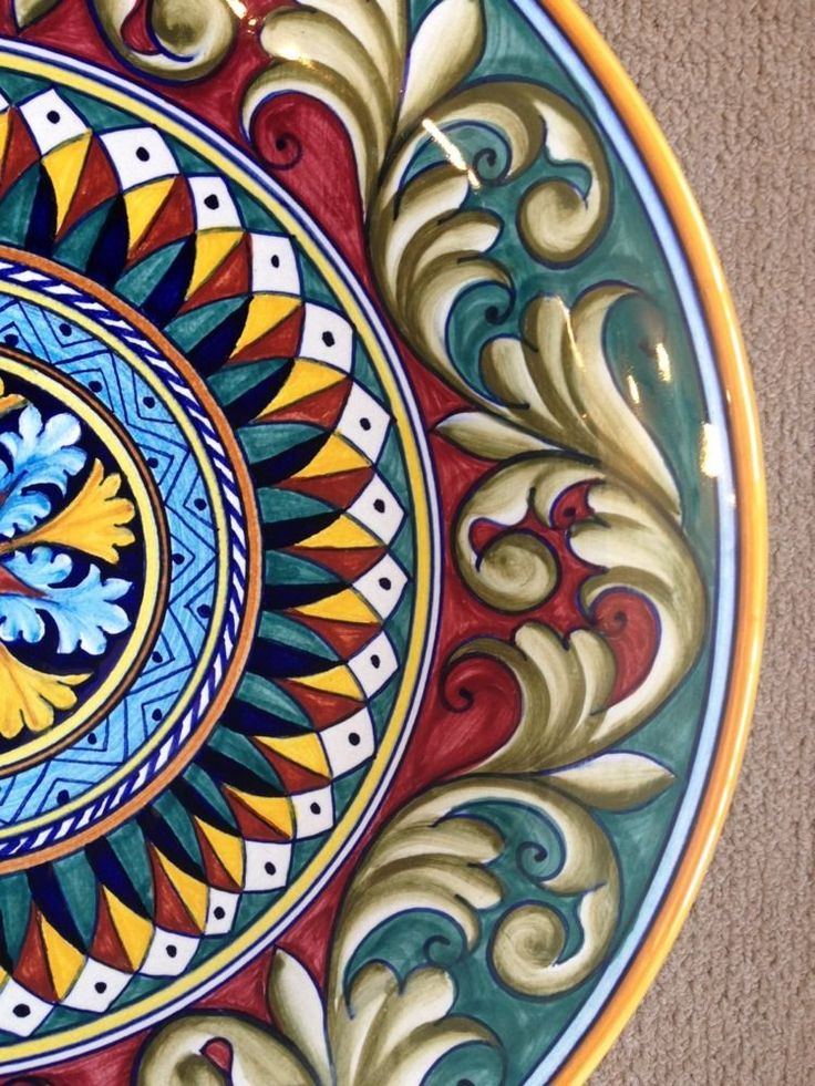 Deruta Pottery-16inch plate vario Pattern made/painted byhand-Italy. 8