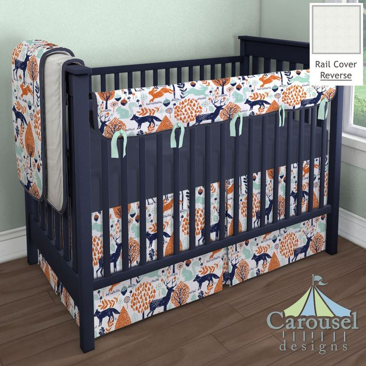 Crib Bedding In Solid Navy And Orange Woodland Animals White Minky Chenille