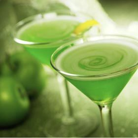 Jolly Rancher Martini   (1 oz. melon liqueur     2 oz. vodka     3 oz. cranberry juice)
