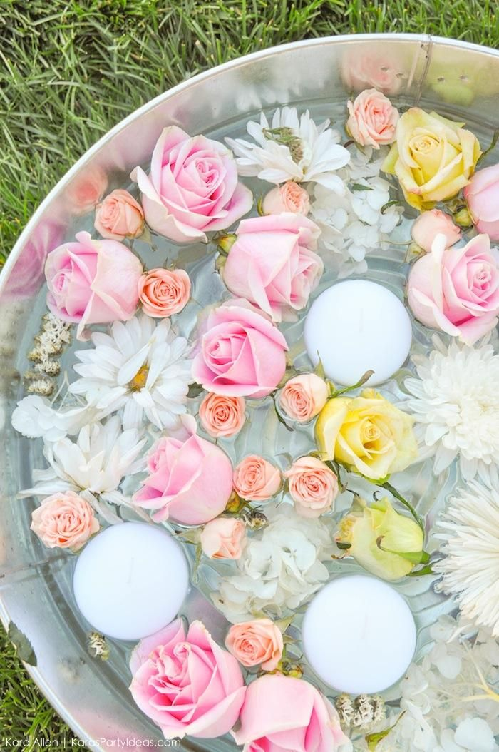 Floating roses and flowers in galvanized tub. Floral chic baby blessing luncheon by Kara Allen | Kara's Party Ideas LDS Blessing Ideas with FREE printables